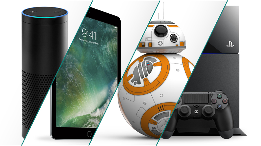 Get cool products like an Amazon Echo, Apple iPad, BB-8 Droid, or Playstation.