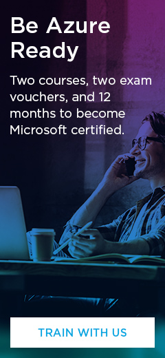 Be Azure Ready. Two courses, two exam vouchers, and 12 months to become Microsoft certified.