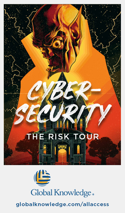 The cybersecurity Risk Tour poster is one of the many concert tour inspired posters Global Knowledge created for its unlimited classroom and on-demand training offer, the All Access IT Skills Subscription.