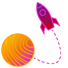 Planet with rocket ship icon